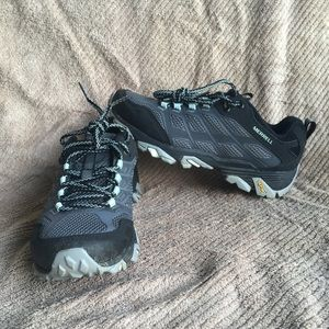 Women Merrell Moab Hiking Boots 7 Blue Granite